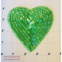 "Load image into Gallery viewer, Heart Dark iridescent Green  3 Size Variants 4"", 3"". 2"""