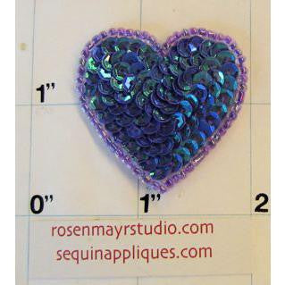 Heart Purple Sequins and Beads 1 1/2""
