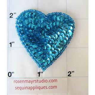 Heart With Sequin and Beads Turquoise 2""