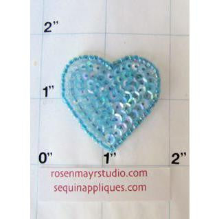 Heart with Irridescent Blue Sequins and Beads  1.5""