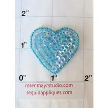 Load image into Gallery viewer, Heart with Irridescent Blue Sequins and Beads  1.5""