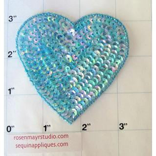 Heart Blue Iridescent 3""