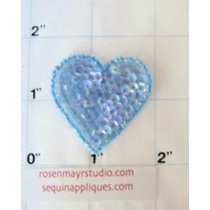 Heart in 2 color variants: Light Iridescent Blue & Iridescent Blue, 1.5""
