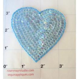 "Heart 3"" in 3 Color Variants: Light Iridescent Blue & Light iridescent Turquoise, Iridescent Sea Green"
