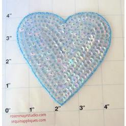 Heart Light  Blue and iridescent blue 4""
