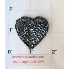 Heart with Dark Grey Sequins and Beads  1.5""