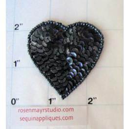 Heart with Charcoal Sequins and Beads  2 ""
