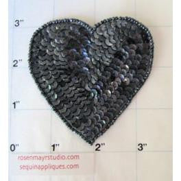 Heart  Charcoal Sequins and Beads in 4 Size Variants