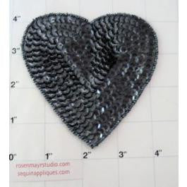 Heart with Charcoal Sequins and Beads 3""