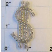 "Load image into Gallery viewer, $ Sign, Silver Beads 2"" x 1"""