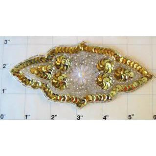"Motif Gold and White Beads 5.5"" x 3"""