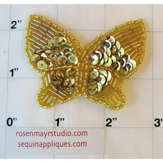 "Butterfly Gold Sequins and Beads 3"" x 2"""