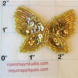 "Butterfly with Gold Sequins and Beads 1.5"" x 2.5"""