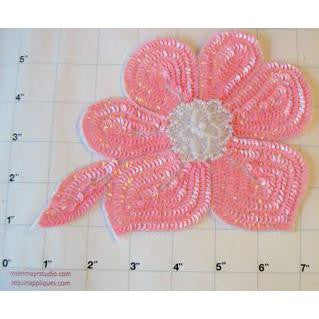 "Pink sequins and white beading with pearls  7.5"" x 5"""