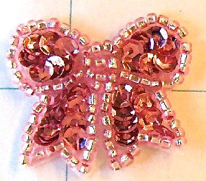 Bow with Pink Sequins and Beads 1""