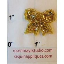 "Load image into Gallery viewer, Bow with Gold Sequins 1"" x 1"""
