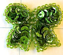Load image into Gallery viewer, Bow with Apple Green Sequins and Beads 1""