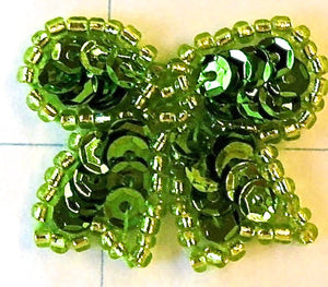 Bow with Apple Green Sequins and Beads 1""