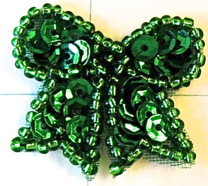 Bow Green Sequins and Beads 1""