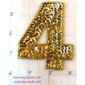 "Number 4 with Gold Sequins 2.25"" x 2"""