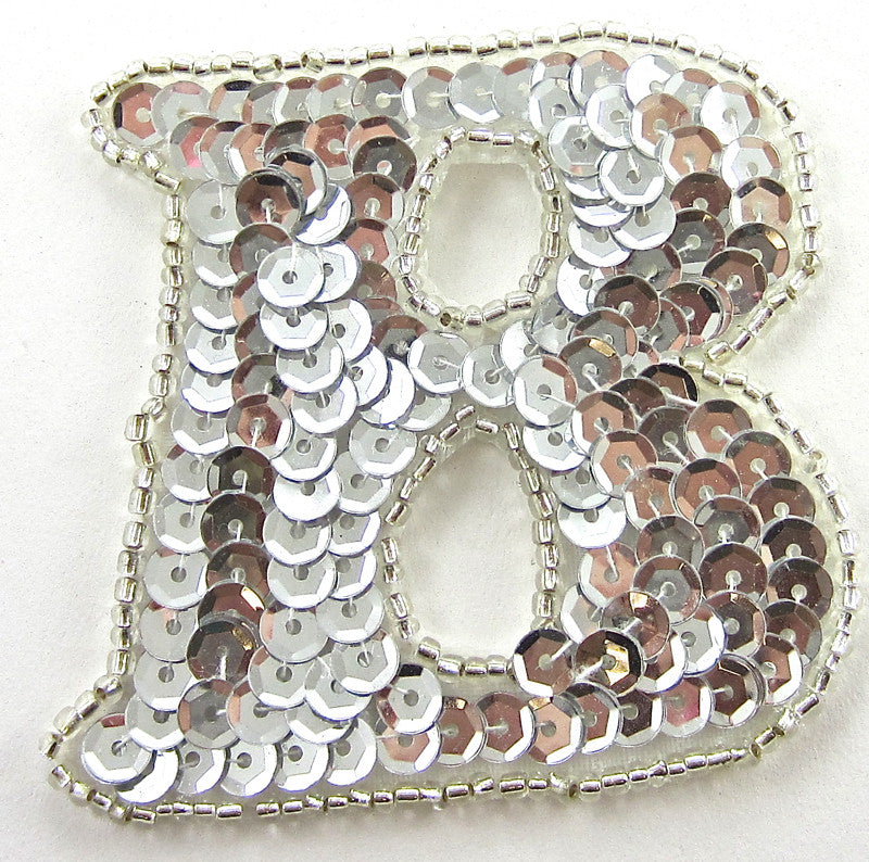 "Letter B Silver Sequins and Beads 2.25"" x 2.25"""