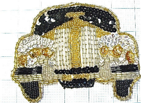 "Rolls Royce Small with Black Gold Silver Sequins and Beads 4"" x 5.25"""