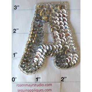 Letter A* Silver Sequins and Beads 3""