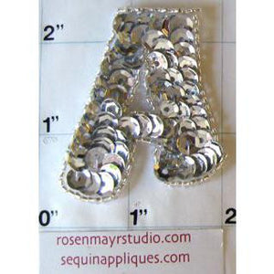 "Letter A* Silver Sequins and Beads 2"" x 2"""