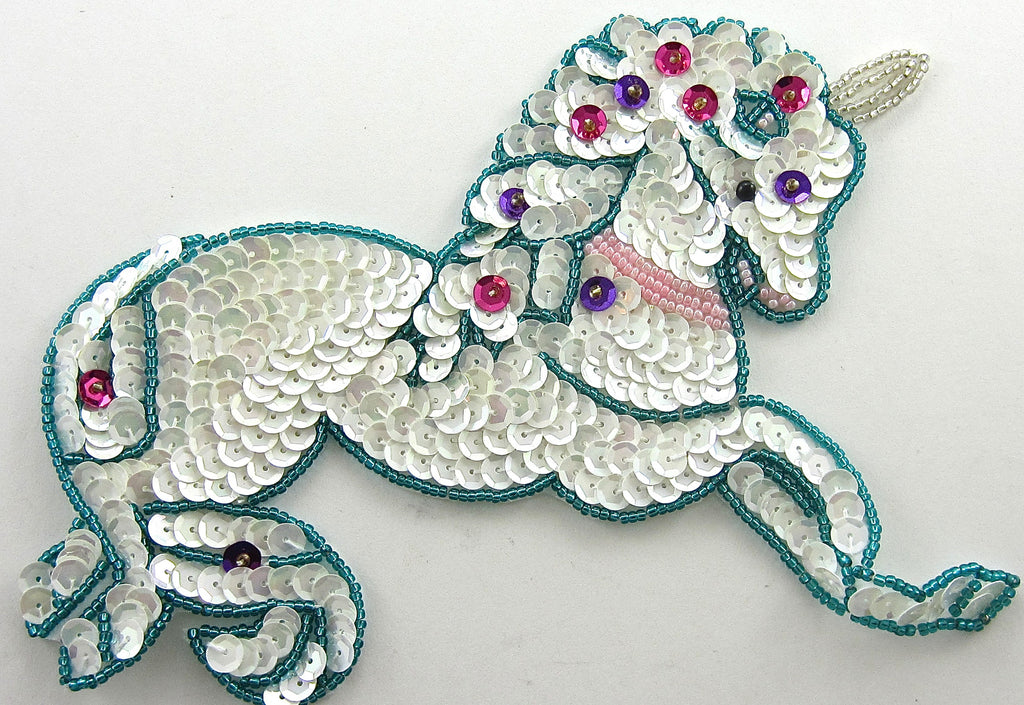 "Unicorn with White Sequins Turquoise Beads 4.5"" x 6"""