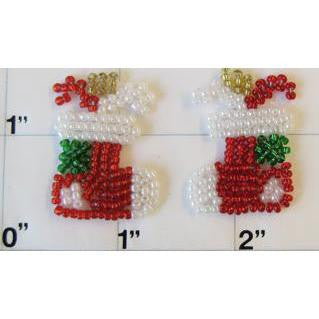 "Stocking Pair for Xmas with all Beads Tiny 1"" x 1"""