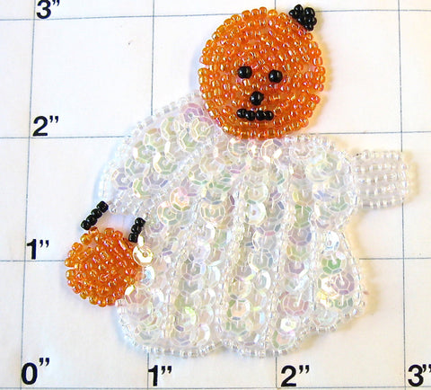 "Ghost With Pumpkin Head 3"" x 3"""