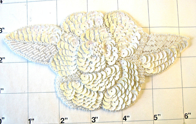 "Flower with Off White Sequins and Beads 3.5"" x 6"""