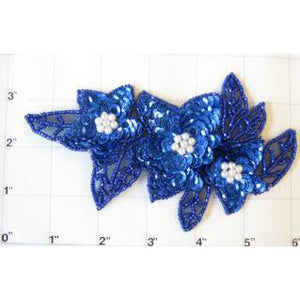 "Flower Triple Spray with Royal BlueSequins and Beads with Pearl 6""x 3.5"""