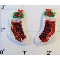 "Christmas Stocking Pair Beaded Red/White, 1.5"" x 1/2"""