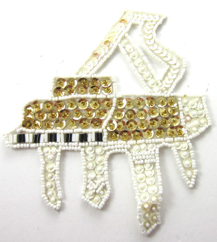"Piano with White and Gold Raised Sequins and beads 5.25"" x 5"""