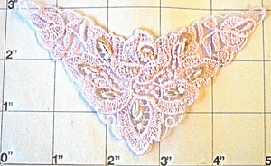 "Designer motif embroidered yoke with pink lace and pearls 5"" x 3"""