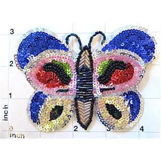 "Butterfly, Multi-Color Sequin Beaded 3.25"" x 4.5"""