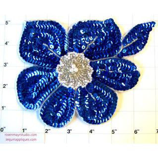 "Flower Blue Sequins and Silver Beads  7.5"" x 6"""