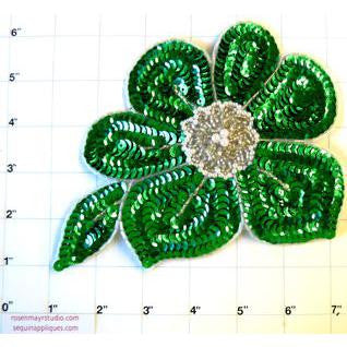 "Flower with Green and Silver Sequins and Beads and Pearls  7"" x 6"""