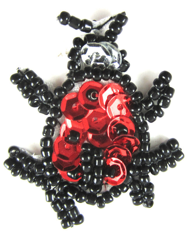"Beetle with Red Sequins Black Beads 1.5"" x 1.25"""