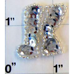Letter K with Silver Sequins and Beads 1""