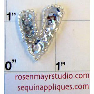 Letter V with Silver Sequins and Beads 1""