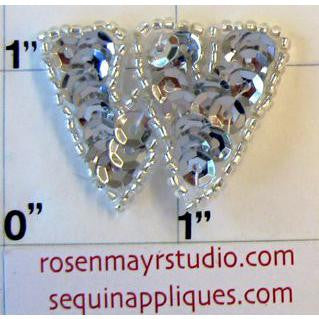 Letter W with Silver Sequins and Beads 1""