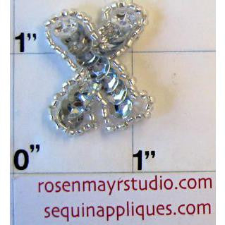 Letter X with Silver Sequins and Beads 1""
