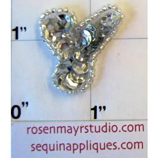Letter Y with Silver Sequins and Beads 1""