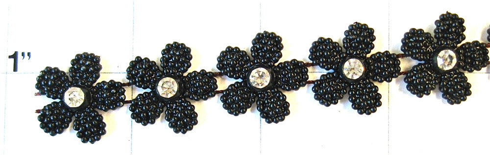 "Trim with Daisychain Black Beads and Crystals 0.75"" Wide"