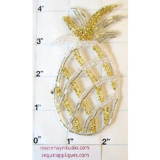 "Pineapple with Gold and Silver Sequins and Beads 4"" x 2"""
