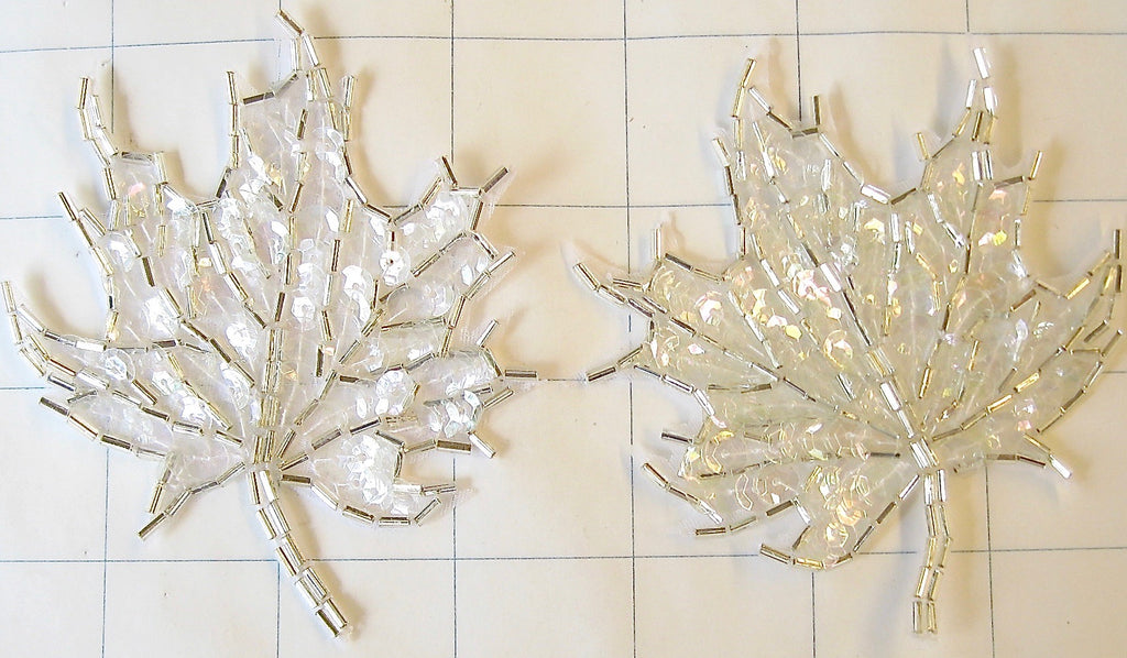 Leaf Pair with White Sequins