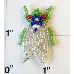 Fly with Silver Green Blue Red Beads 1""