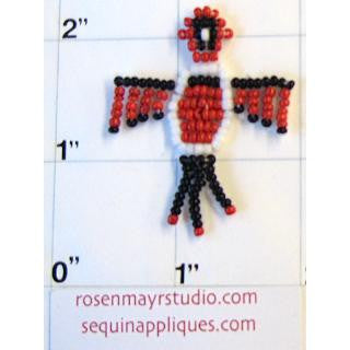 "Southwestern Thunderbird with Red and Black Beads 1.5"" x 1.5"""